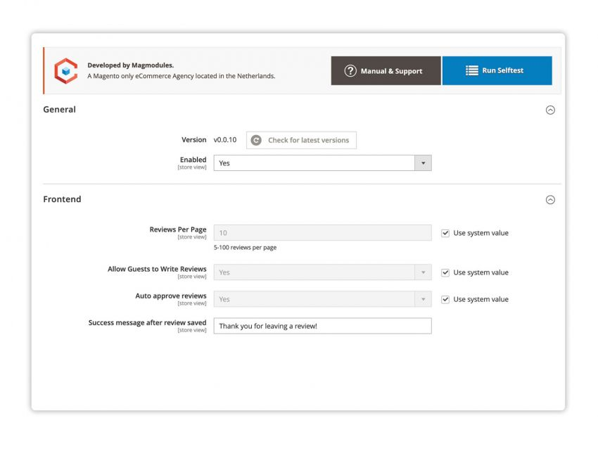 Easily configure the Shopreview and directly get the latest version or a link to the Knowledge Base for more information about the configuration.