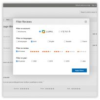 Enable a filter so customers can filter on Kiyoh account, language, year, or score.